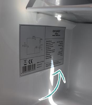 Aufkleber Seitenwand unterstes Kühlfach