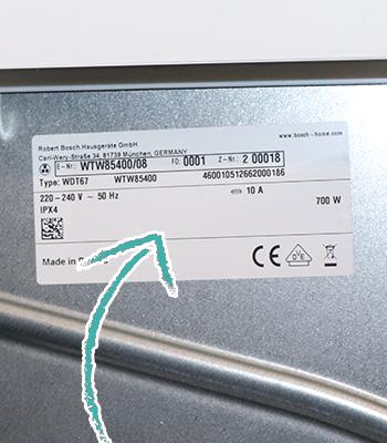 Seriennummer Waschmaschine Etikett Rückseite